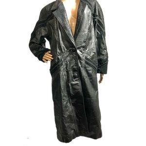 Vintage Winlit Black Leather Trench jacket Medium